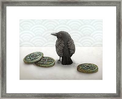 Little Bird And Coins Framed Print