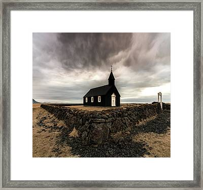 Little Black Church Framed Print by Larry Marshall