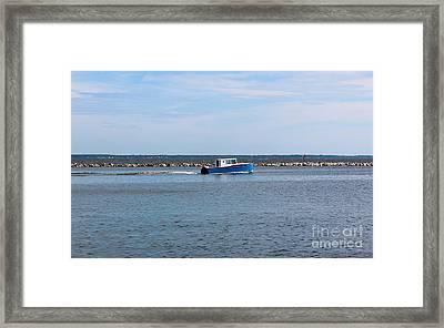 Little Blue Boat Framed Print by Robert Yaeger