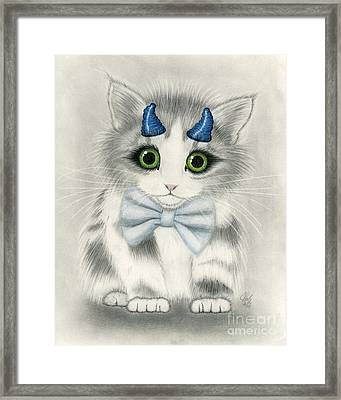 Framed Print featuring the drawing Little Blue Horns - Devil Kitten by Carrie Hawks