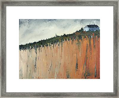Little Blue House On The Cliff Framed Print by Carolyn Doe