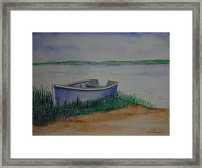 Little Blue Skiff Framed Print by Ron Sylvia