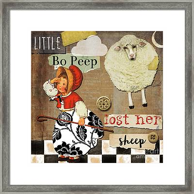 Little Bo Peep Nursery Rhyme Framed Print by Mindy Sommers