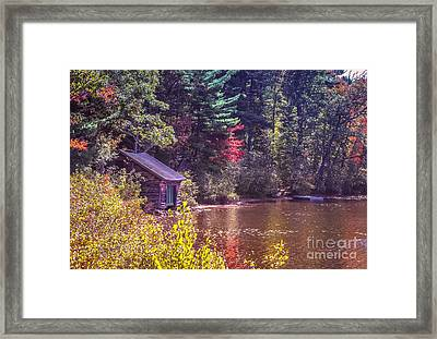 Little Boat House By The Lake Framed Print