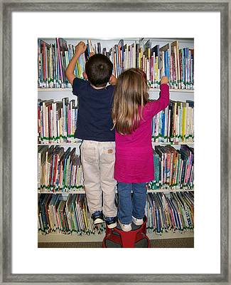 Framed Print featuring the digital art Little Bookworms by Barbara S Nickerson
