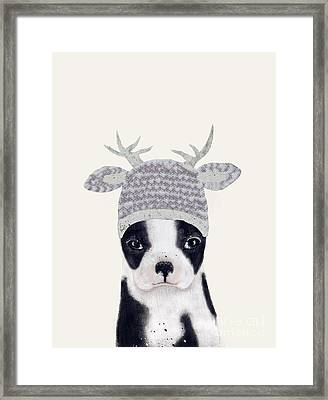 Framed Print featuring the painting Little Boston Deer by Bri B