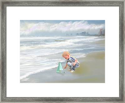 Little Boy And Boat Framed Print by Mary Timman