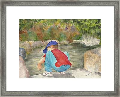 Framed Print featuring the painting Little Boy At Japanese Garden by Vicki  Housel