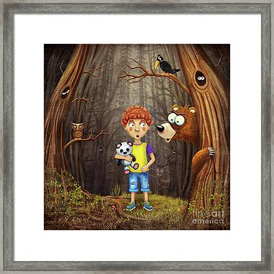 Little Boy In The Forest Framed Print