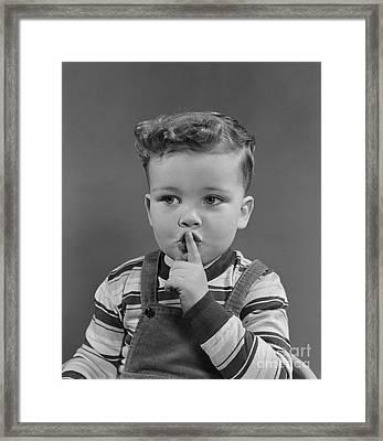 Little Boy Making Shushing Gesture Framed Print