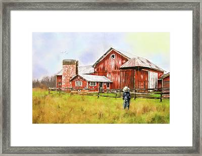 Little Boy On The Farm Framed Print