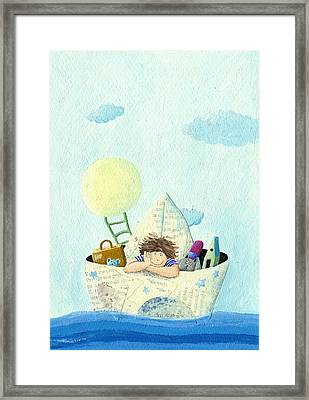 Little Boy Sailing In A Paper Boat Framed Print by Hicham  Attalbi alami