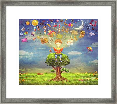 Little Boy Sitting On The Tree And  Reading A Book, Objects Flyi Framed Print