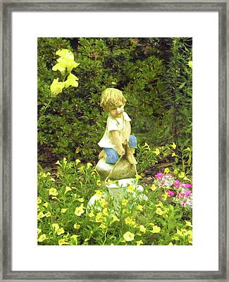 Little Boy With Pail Framed Print