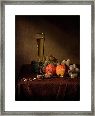 Little Breakfast With Flute Gloass Apples And Grapes Framed Print
