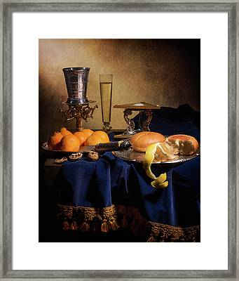 Little Breakfast With Oranges-bread-salt Cellar And Silver Cup Framed Print
