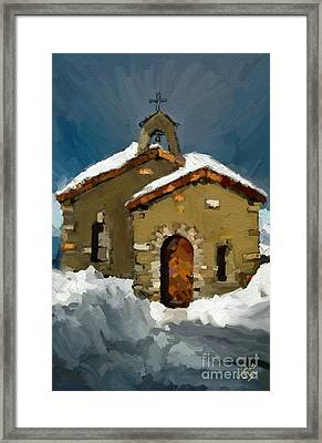 Little Brown Church Framed Print by Carrie Joy Byrnes
