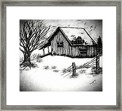 Little Cabin In The Wood Van Gogh Style Framed Print