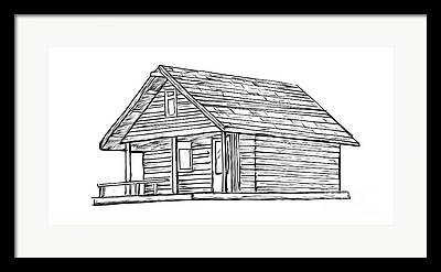 Log Cabins Drawings Framed Prints