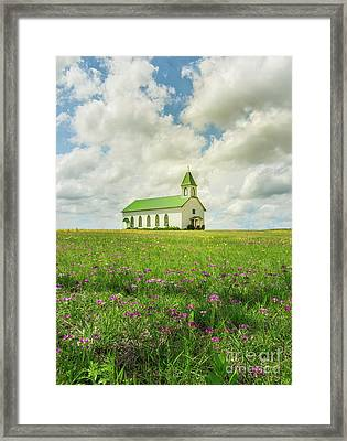 Little Church On Hill Of Wildflowers Framed Print by Robert Frederick