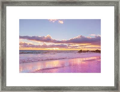 Little Corona Beach Orange County Beautiful Sunset In Waves Framed Print