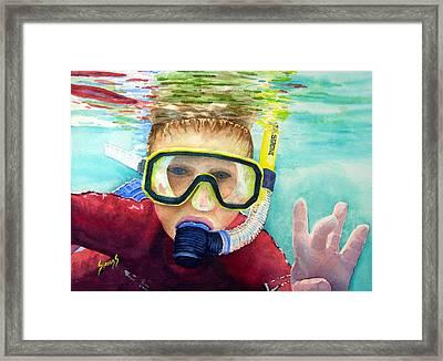 Little Diver Framed Print