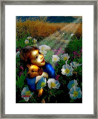 Framed Print featuring the digital art Little Dog Lost by Seth Weaver