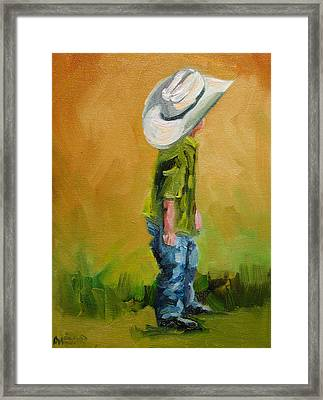 Little Dude Big Hat Framed Print by Diane Whitehead
