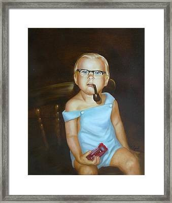 Framed Print featuring the painting Little Firefighter by Joni McPherson