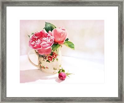 Little Flowered Jug Framed Print by Margaret Hormann Bfa