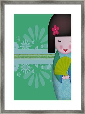 Little Geisha Blue Framed Print by Jannina Ortiz
