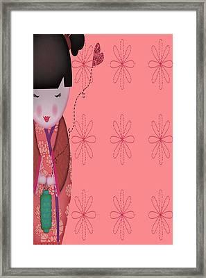 Little Geisha Pink Framed Print by Jannina Ortiz