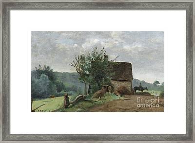 Little Girl And A Cavalier In A Barn Yard Framed Print