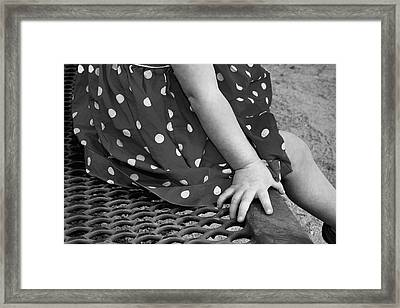 Little Girl Hand Polka Dot Dress Framed Print by Tracie Kaska
