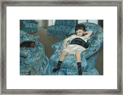 Little Girl In A Blue Armchair Framed Print by Mary Cassatt