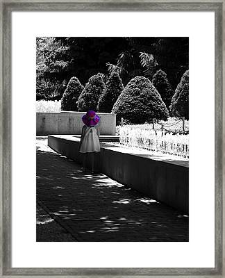 Little Girl In Magenta Hat Black And White Selective Color Framed Print