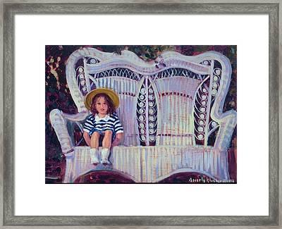 Little Girl In Straw Hat Framed Print by Beverly Klucher