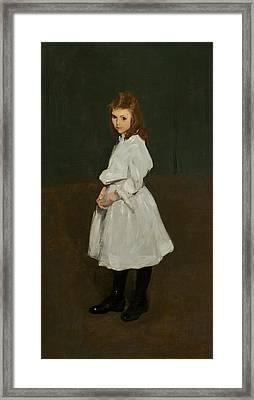 Little Girl In White Framed Print