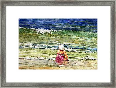 Little Girl On The Beach Framed Print by Shirley Sykes Bracken