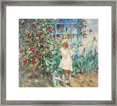 Little Girl With Roses  Framed Print by Pierre Van Dijk