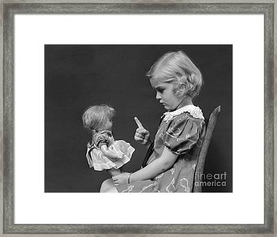 Little Girl Scolding Doll, C.1930s Framed Print by H. Armstrong Roberts/ClassicStock