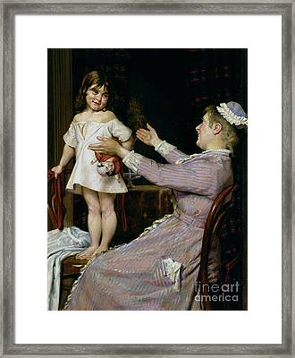 Little Girl With A Doll And Her Nurse Framed Print by Christian Pram Henningsen