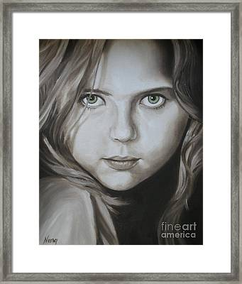 Little Girl With Green Eyes Framed Print