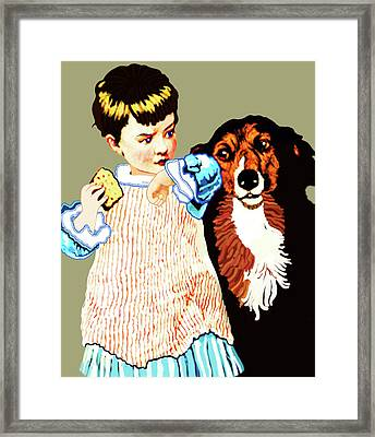 Little Girl With Hungry Mutt Framed Print