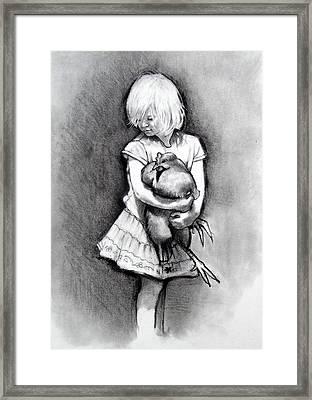 Little Girl With Pet Chicken Framed Print