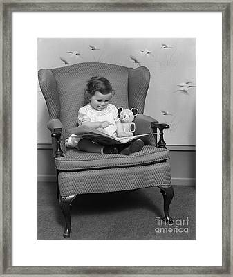 Little Girl With Picture Book, C.1930s Framed Print