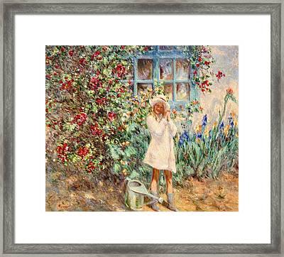Little Girl With Roses  Framed Print