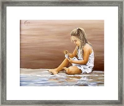 Framed Print featuring the painting Little Girl With Sea Shell by Natalia Tejera