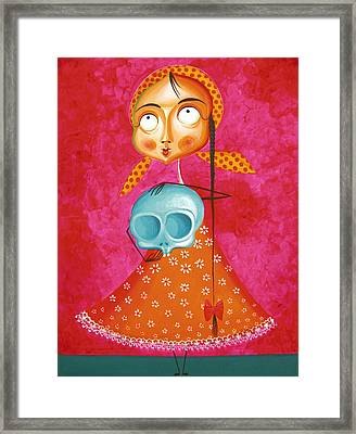 Little Girl With Toy Skull - Acrylic Painting On Canvas Framed Print by Tiberiu Soos