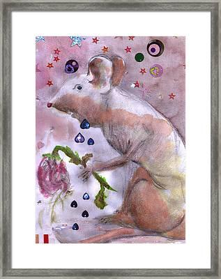 Little Gnaw Skank 2 - Rose Framed Print by Geckojoy Gecko Books